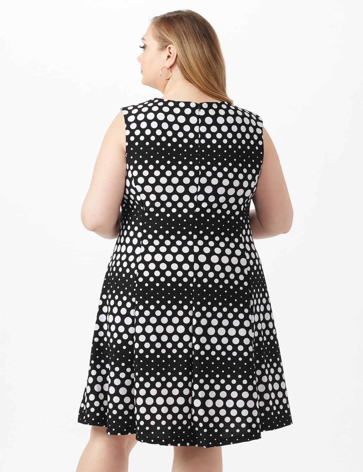 Dotted Stripe Fit and Flare Scuba Dress - Black/White - Back