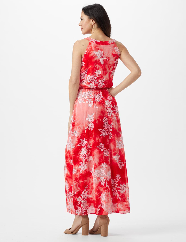 Petite Tie Dye  Floral Maxi Dress - Red - Back