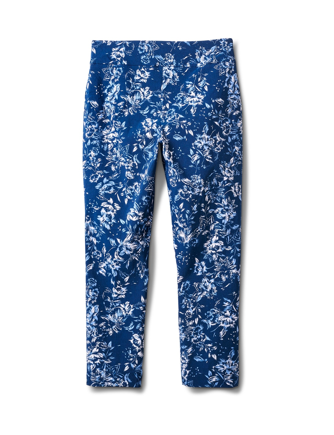 Pull On Floral print Ankle Pants - Blue Floral - Back