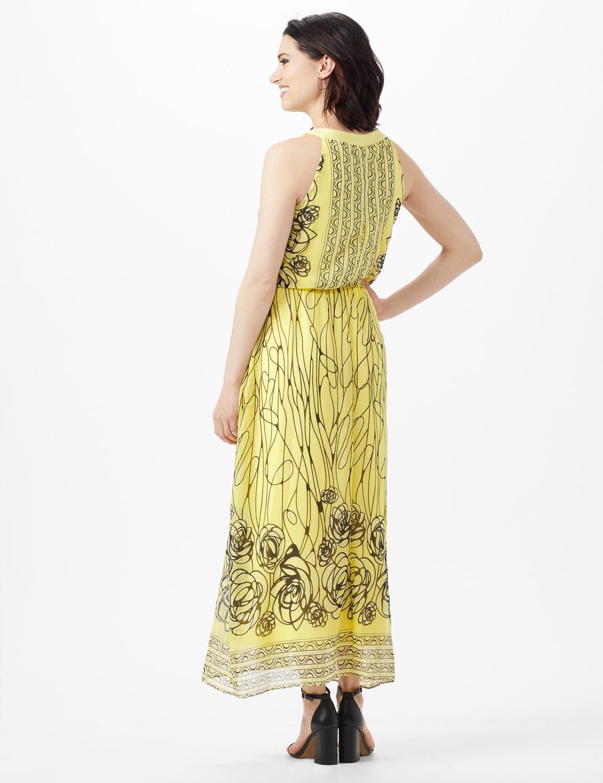 Halter Scribble Floral Chiffon Patio Dress - Yellow/Navy - Back