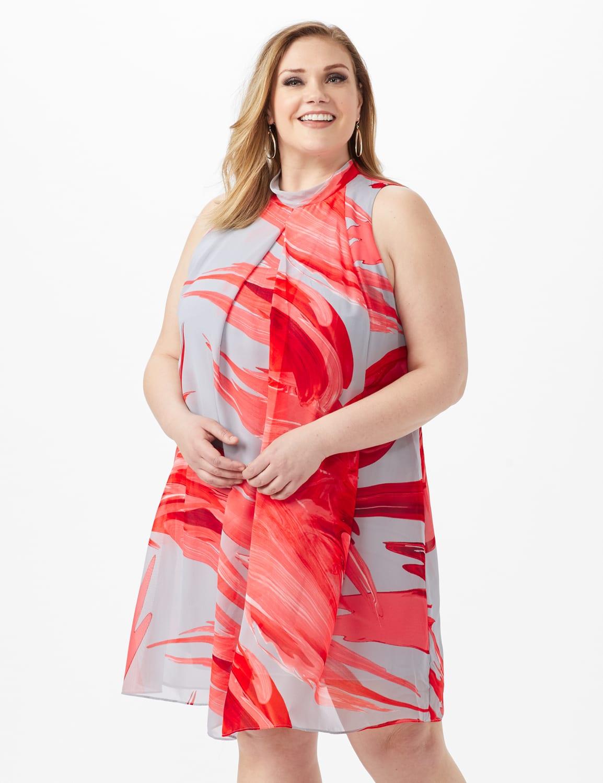 Sleeveless Chiffon Brush Stroke Mock Neck Dress - Grey/Red - Front