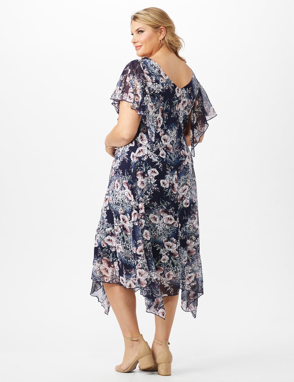 Floral Chiffon Drape Neck Hanky Hem Dress - Plus - Navy/Mauve - Back