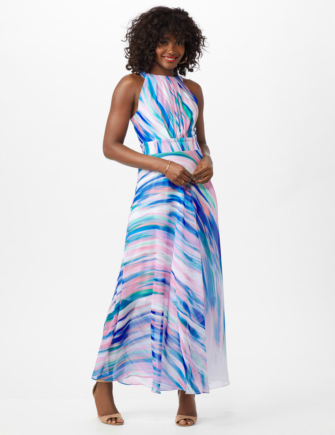 Watercolor Swirl Print Patio Dress - Black/Pink/Multi - Front