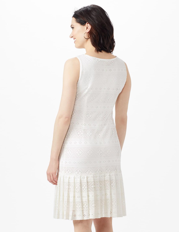 Sleeveless Key Hole Neck Pleated Hem Lace Dress - Ivory - Back