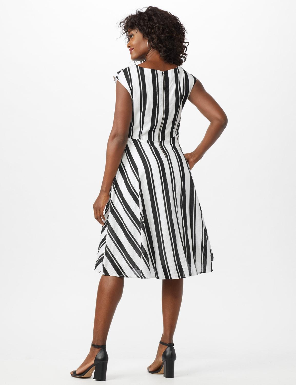 Stripe Textured Cotton Faux Wrap Dress - White/Black - Back