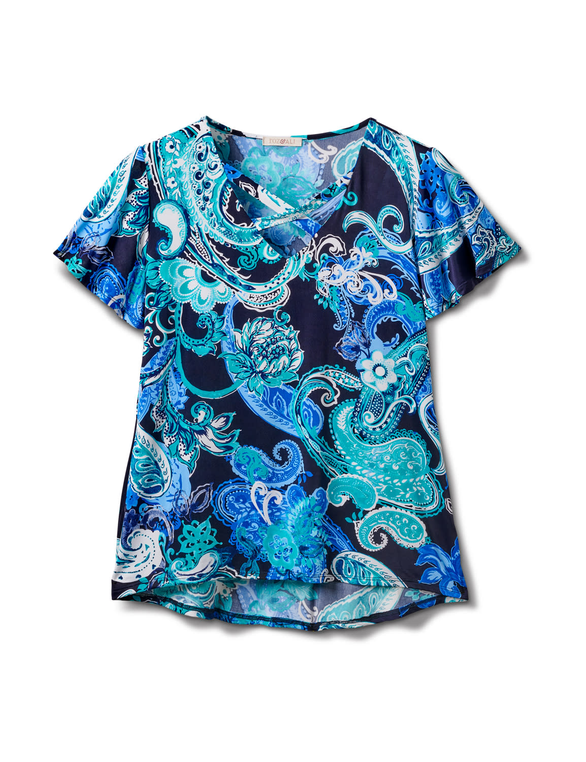 Criss Cross Neck Paisley Knit Top - Misses - Navy - Front