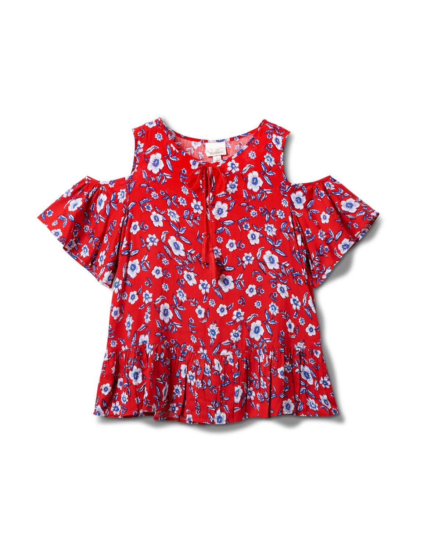 Dressbarn Tie Neck Floral Cold Shoulder Top - Misses - Red - Front