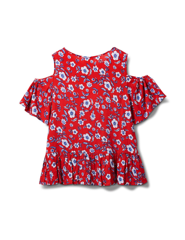Dressbarn Tie Neck Floral Cold Shoulder Top - Misses - Red - Back