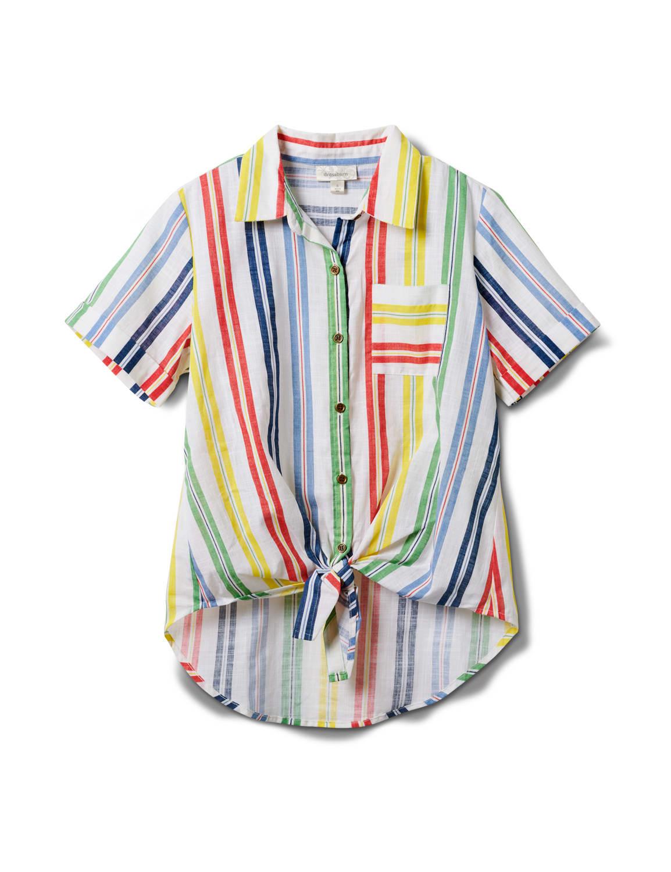 Multi Stripe Texture 1 Pocket Shirt - Misses - Multi - Front