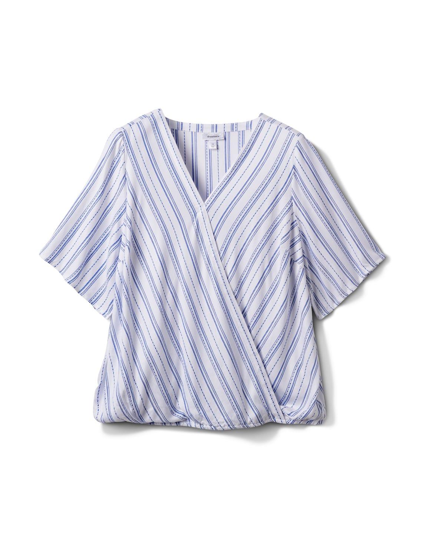 Stripe Wrap Hi-Lo Top - Plus - Blue/White - Front