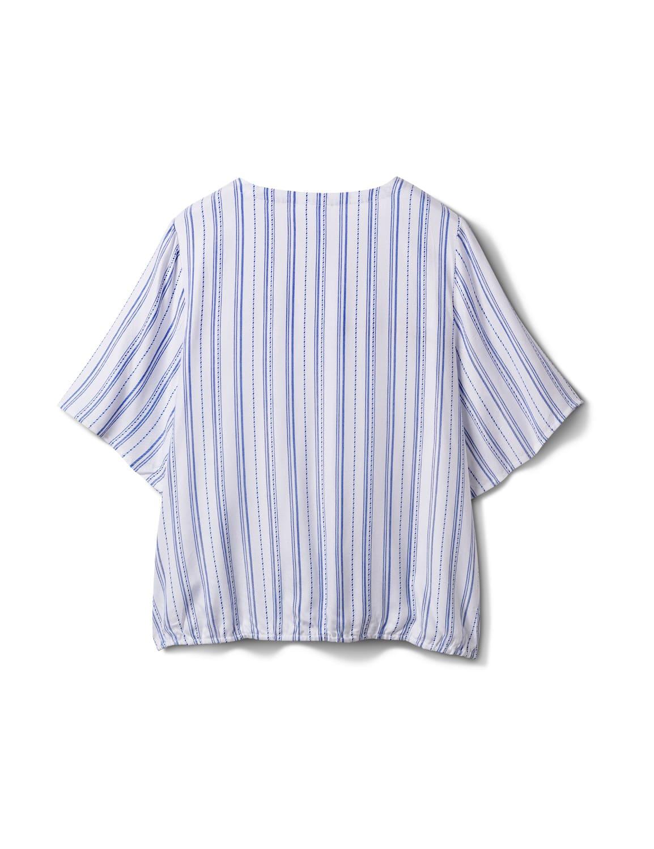 Stripe Wrap Hi-Lo Top - Plus - Blue/White - Back