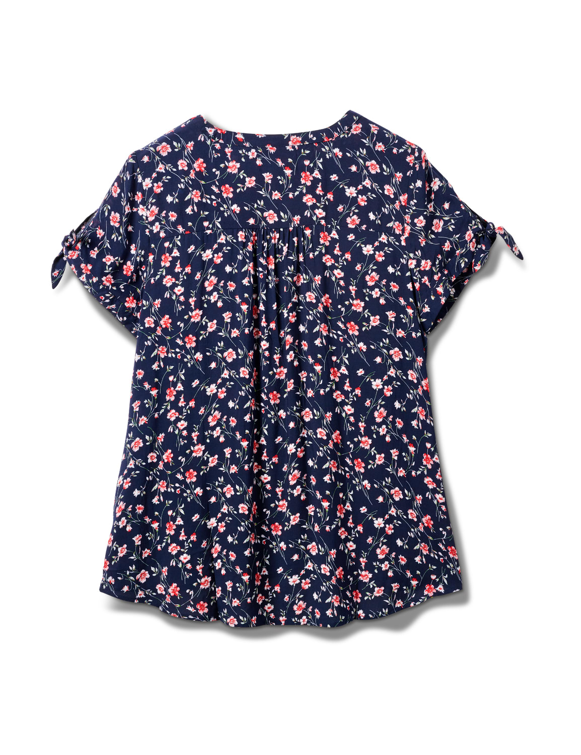 Floral Pintuck Tie Sleeve Popover - Plus - Navy - Back