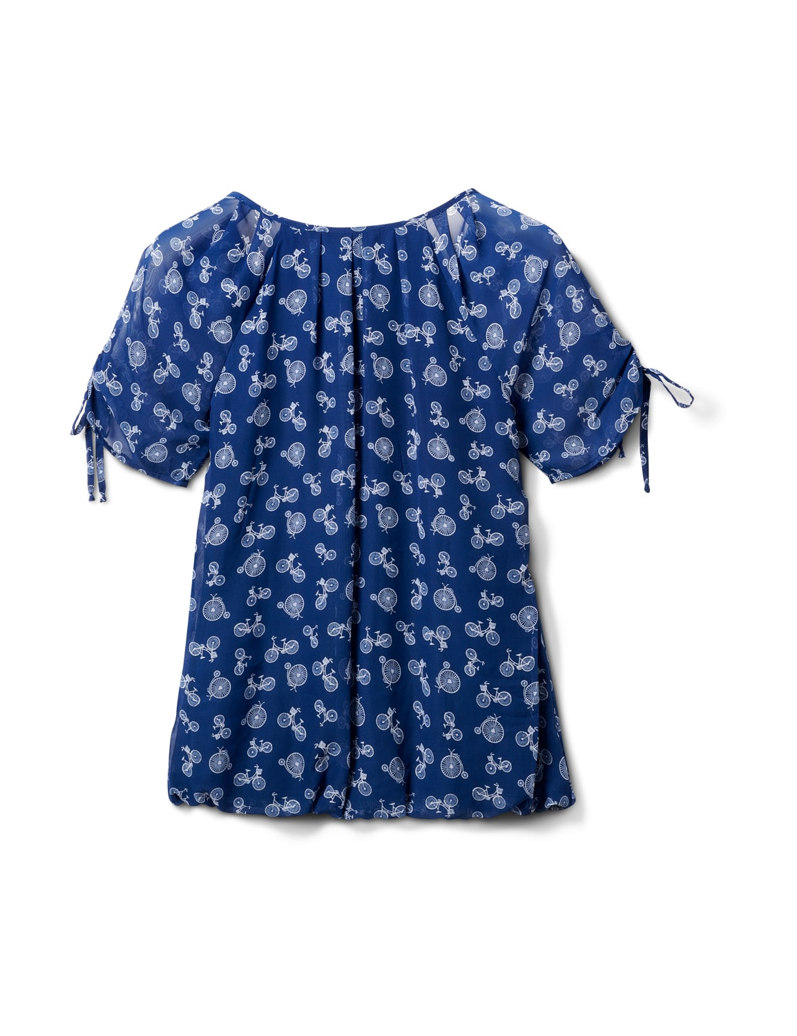 Bicycle Bubble Hem Tie Sleeve Top - Navy/White - Back
