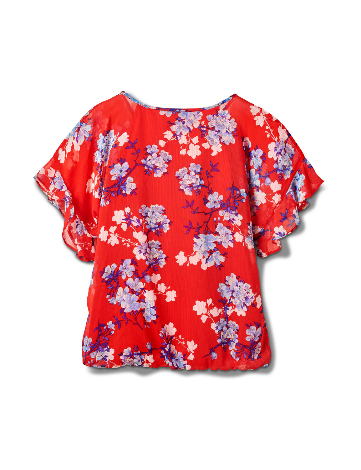 Floral Cold Shoulder Bubble Hem Top - Misses - Red - Back