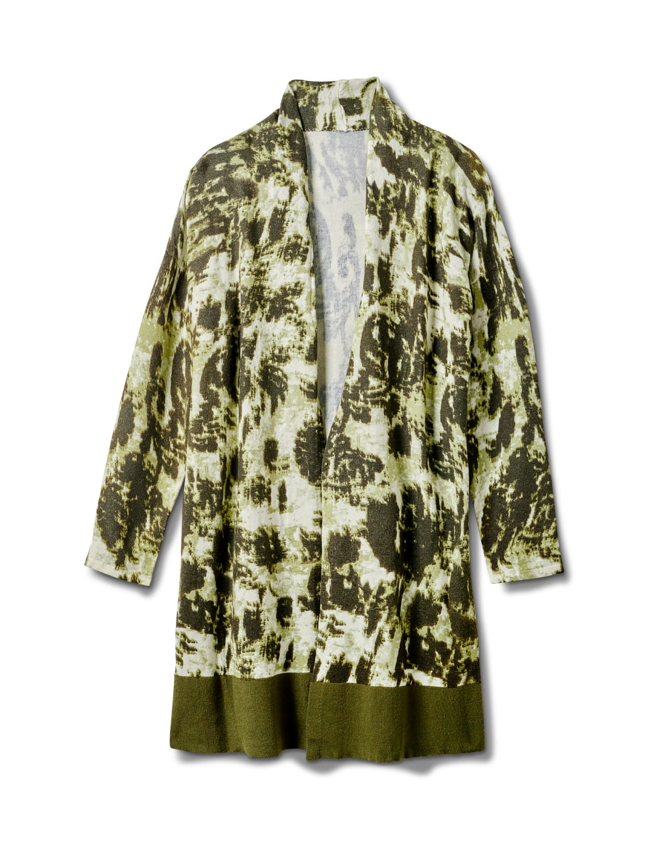 Roz & Ali Tie Dye Duster - Plus - Olive - Front