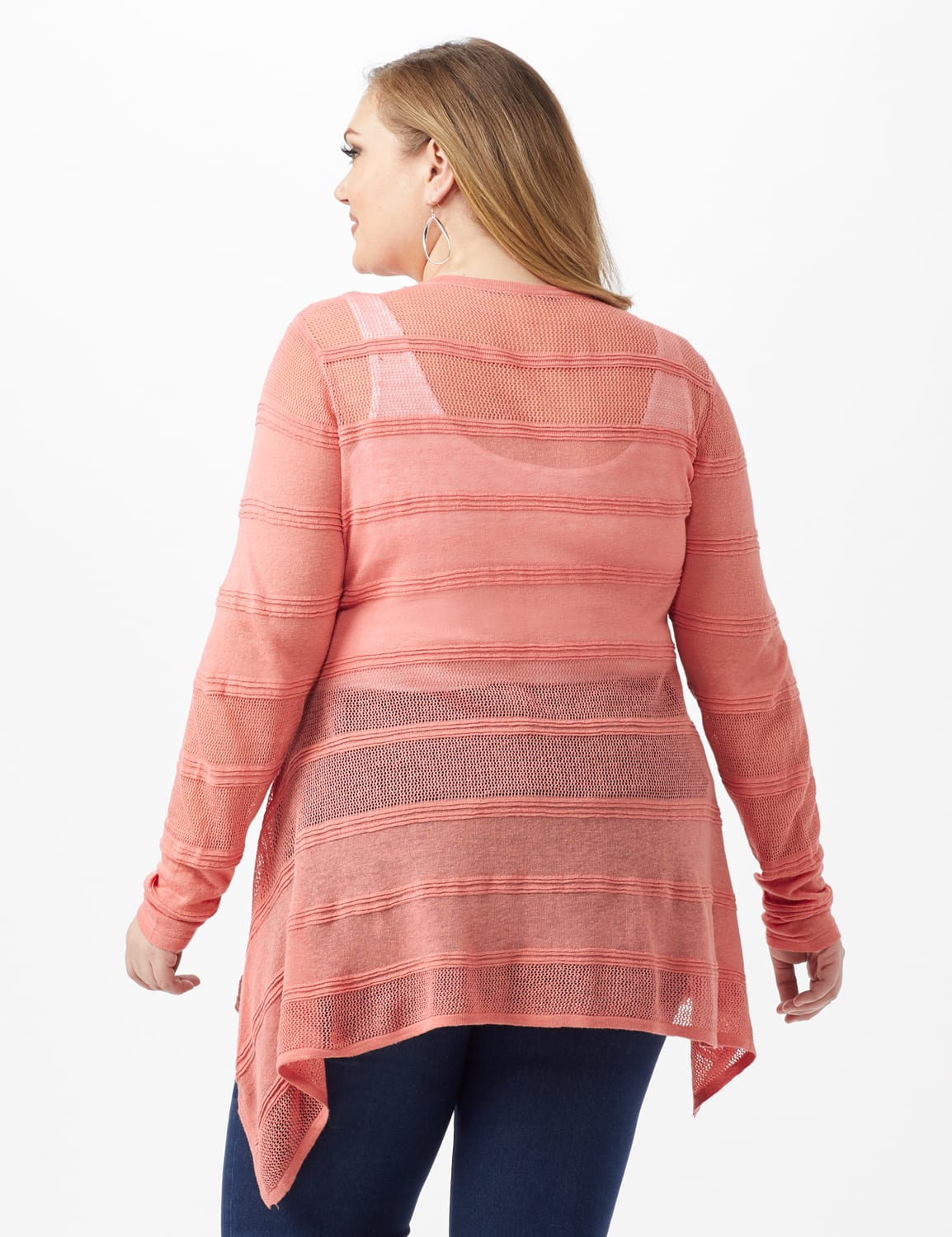 Button Front Sharkbite Cardigan - Plus - Pink Guava - Back