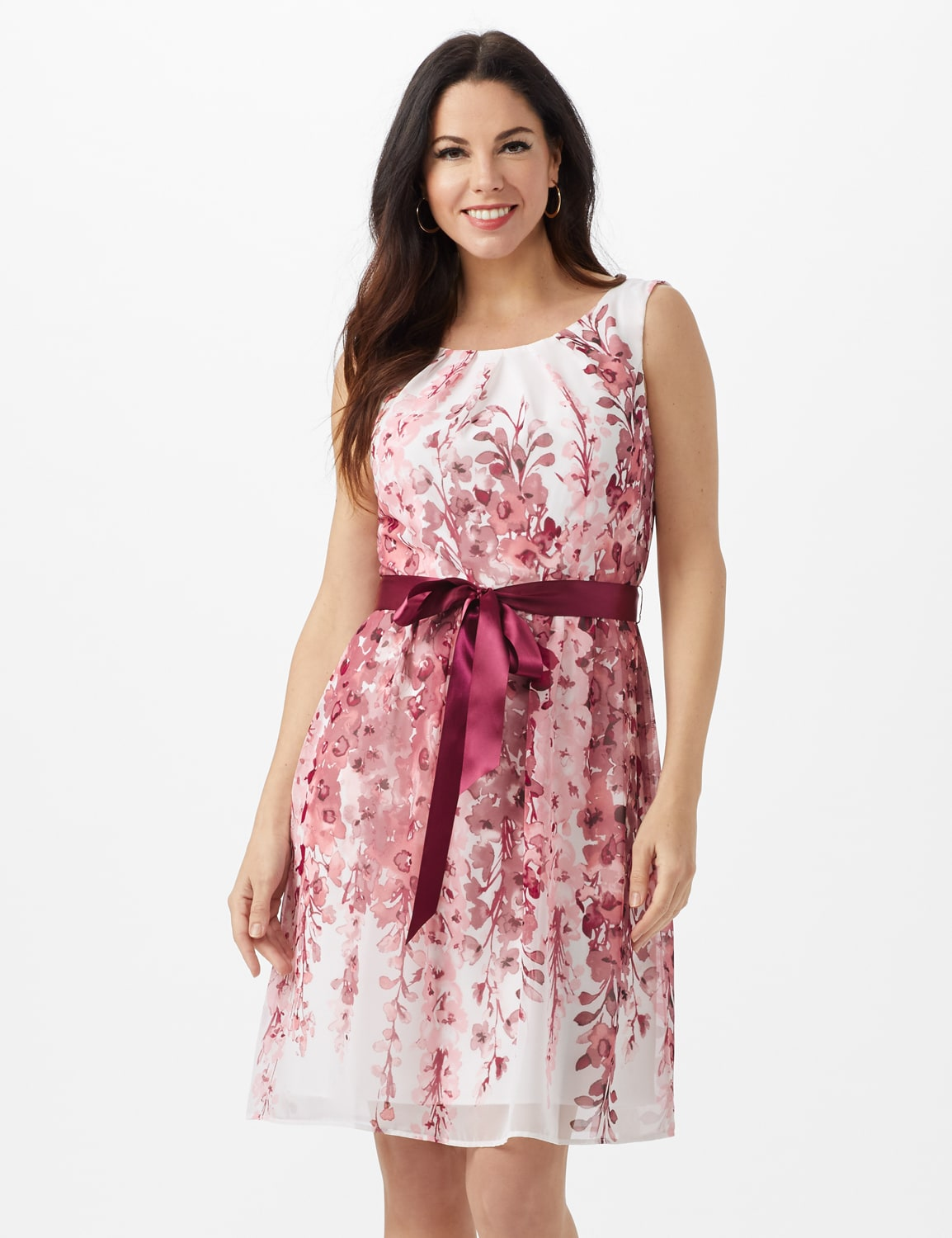 Double Vine Floral Boarder Dress with Satin Ribbon Belt - Dusty Rose - Front