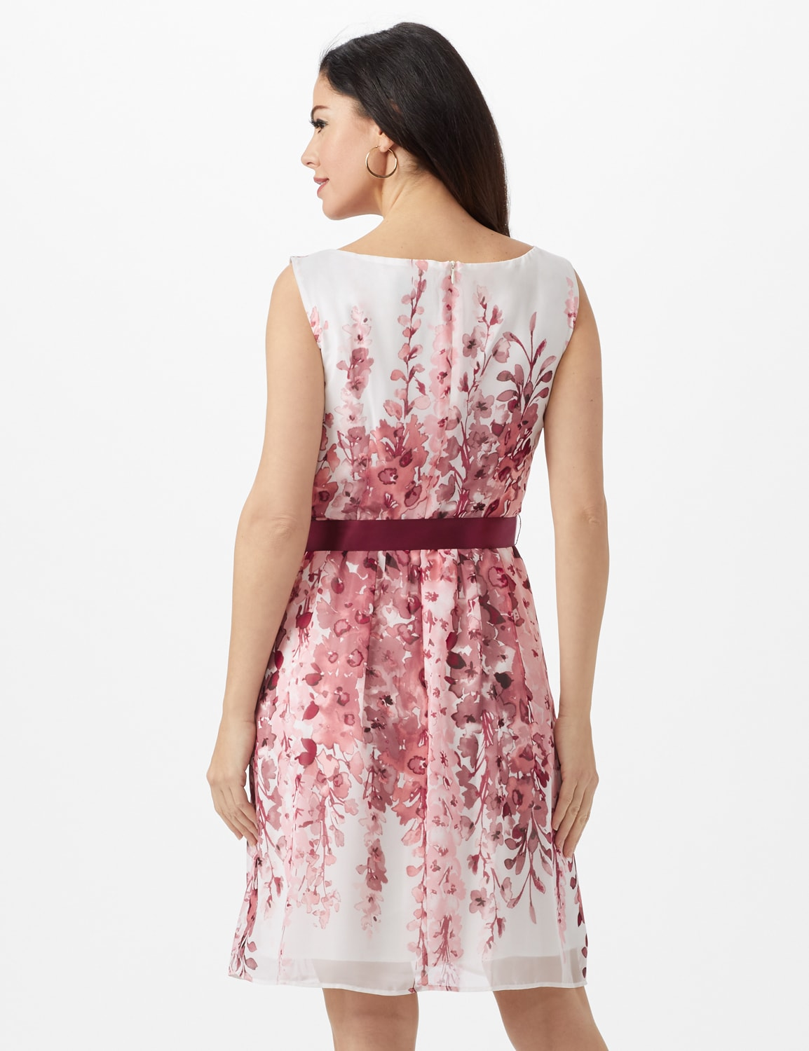 Double Vine Floral Boarder Dress with Satin Ribbon Belt - Dusty Rose - Back
