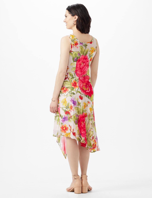 Sleeveless Drape Neck Asymmetrical Hem Floral Dress - Champagne - Back