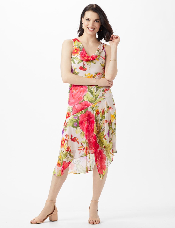Sleeveless Drape Neck Asymmetrical Hem Floral Dress - Champagne - Front
