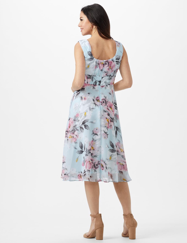Aqua Floral Emma Style Sleeveless Chiffon Dress - Aqua - Back