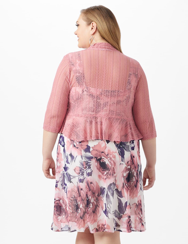 Floral Chiffon  Dress with Lace Shrug - Ivory/Mauve - Back