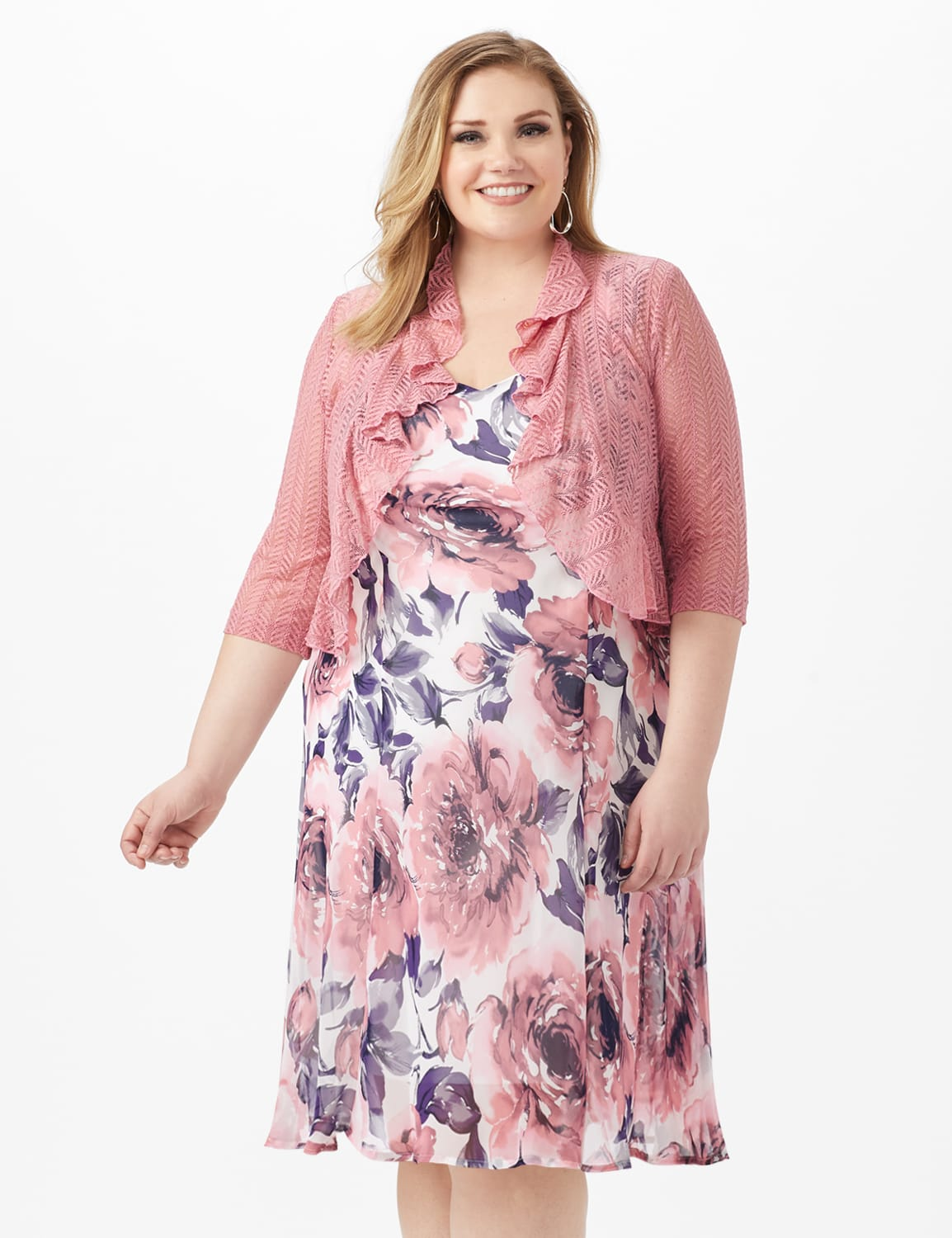 Floral Chiffon  Dress with Lace Shrug - Ivory/Mauve - Front
