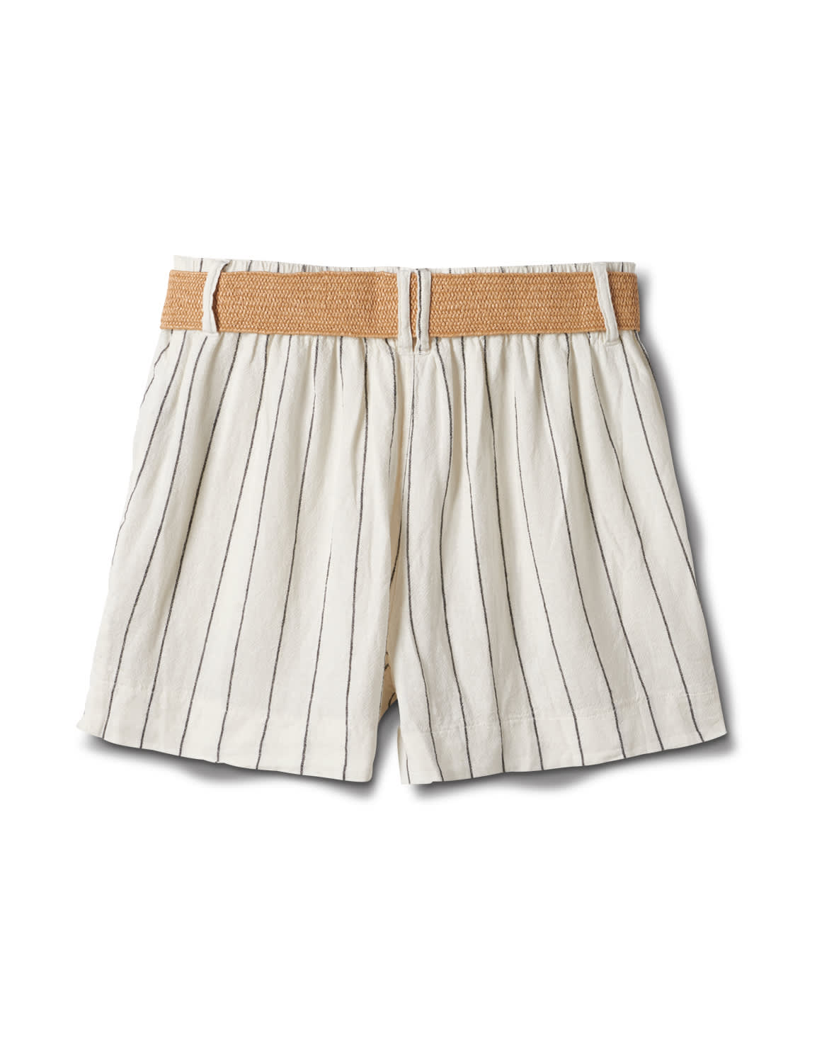 High Rise A Line Shorts With Belt - Natural - Back