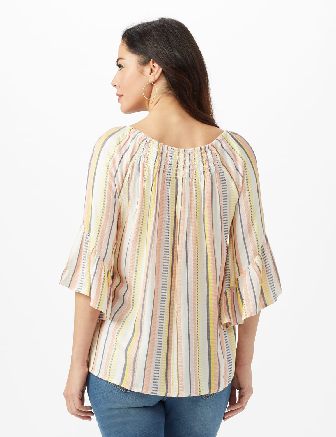 Textured Stripe Flared Sleeve Top - Coral - Back