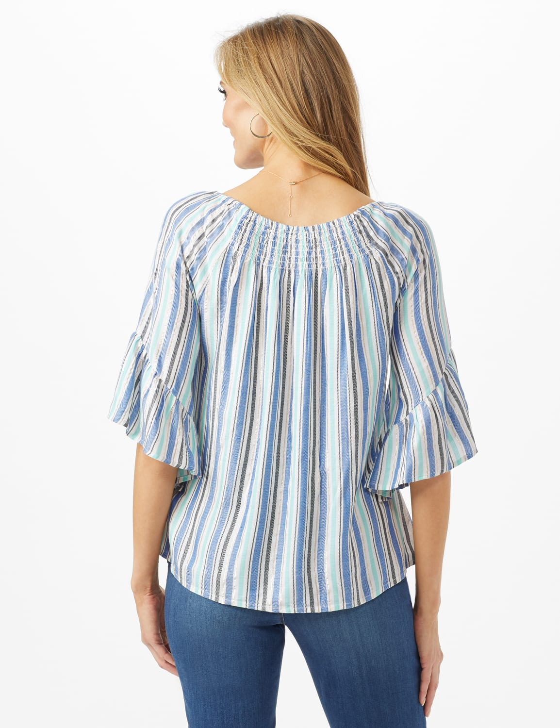 Lurex Textured Stripe Peasant Top - Blue - Back