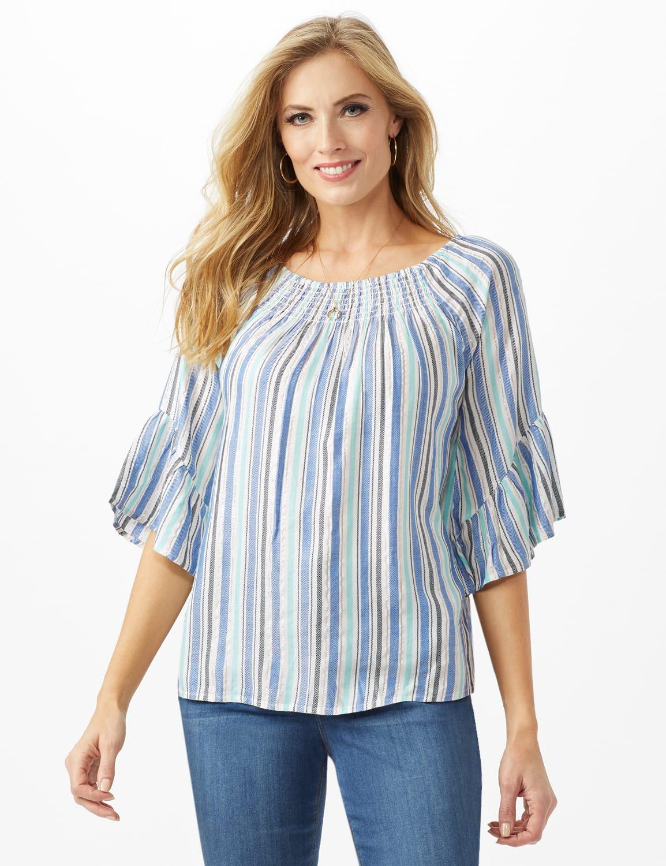 Lurex Textured Stripe Peasant Top - Blue - Front