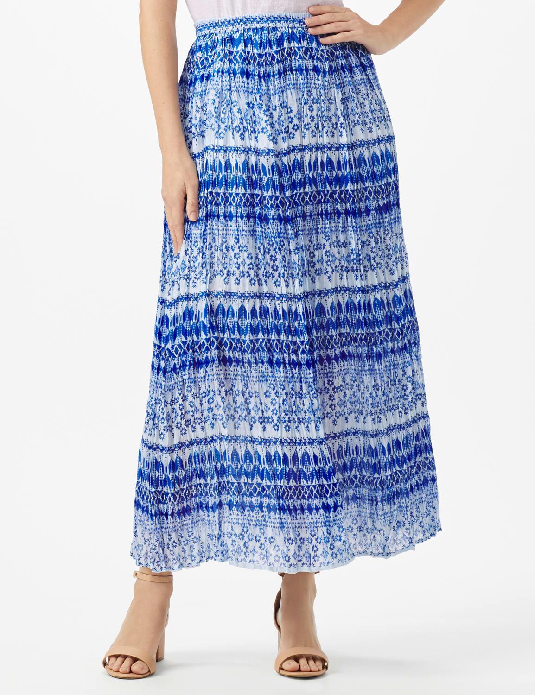 Elastic Waist Crinkle Pull On Skirt - Royal Blue - Front