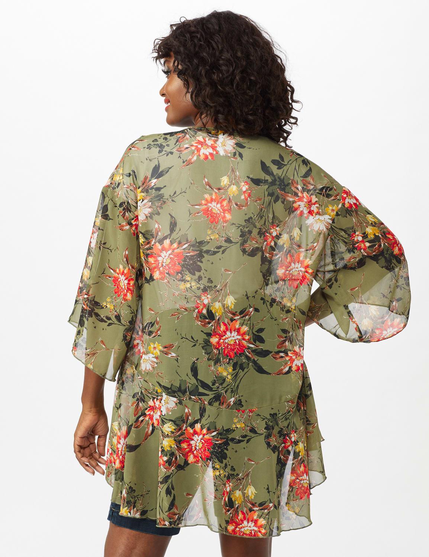 Floral Flounce Hem Kimono - Olive - Back