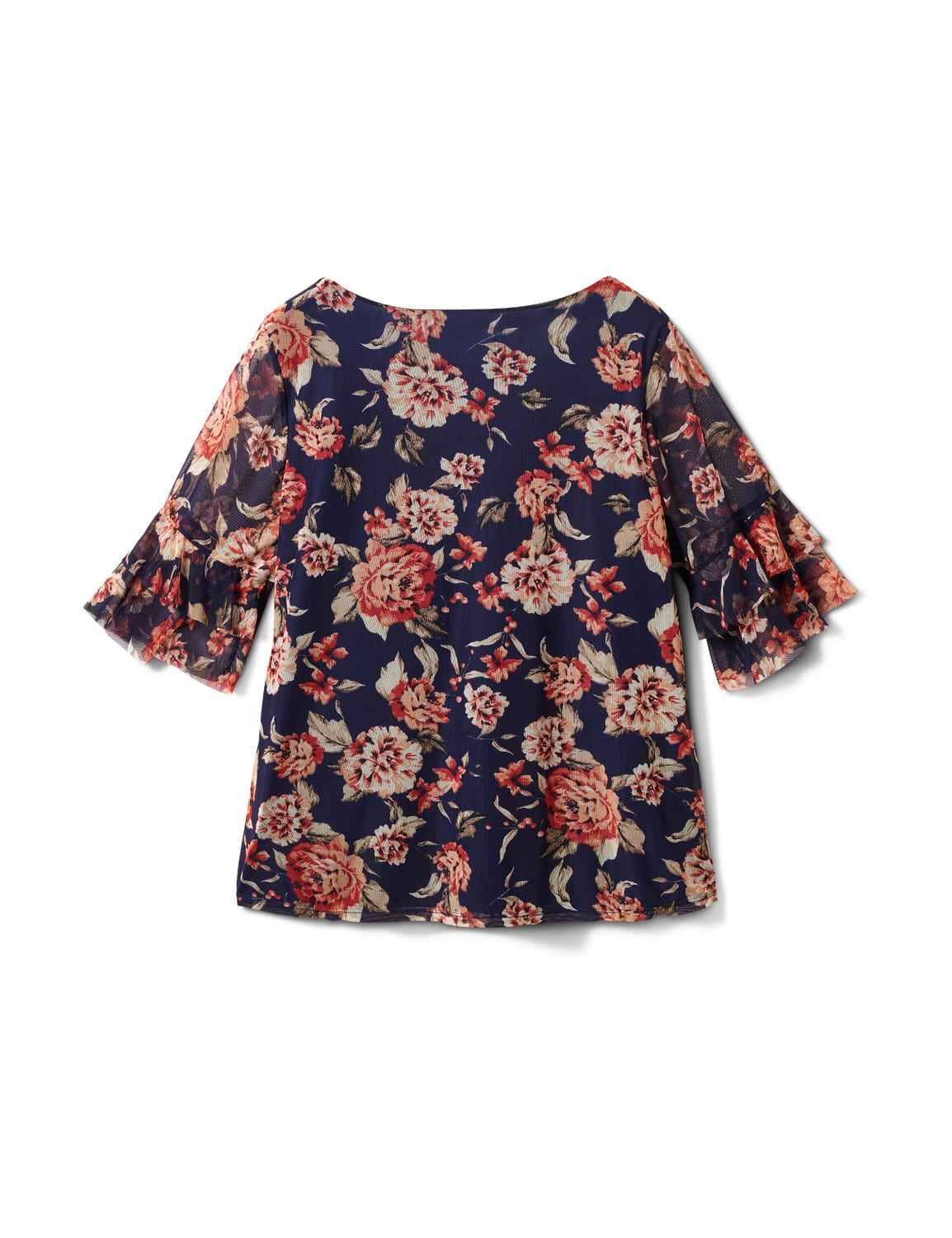 Floral Mesh Ruffle Sleeve Knit Top - Plus - Navy - Back