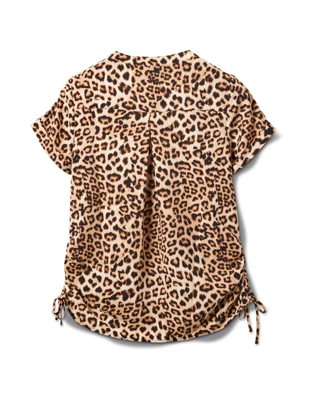 Animal Side Tie Woven Top - Misses - Black-tan - Back