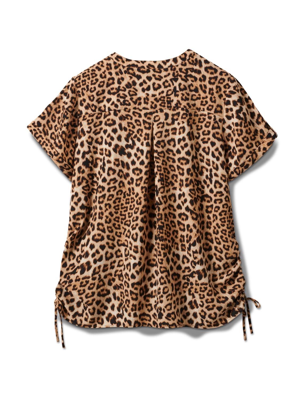 Animal Side Tie Woven Top - Plus - Black-tan - Back