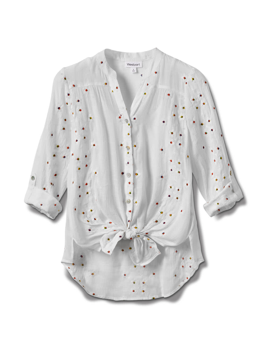 Westport Embroidered Button Front Shirt - Misses - White - Front