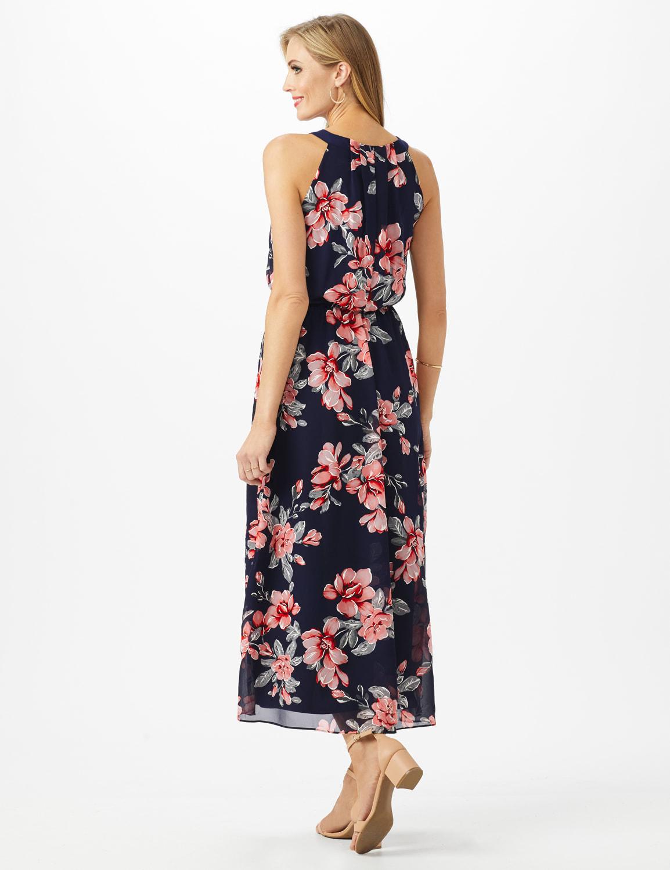 Petite Halter Neck Floral  Maxi Dress - Navy/Coral - Back