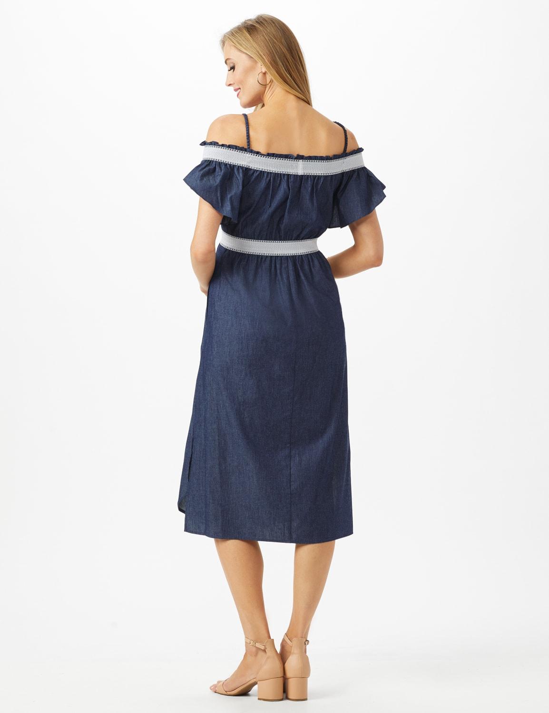 Denim Cold Shoulder Dress Smocked Waist - Dark Denim - Back