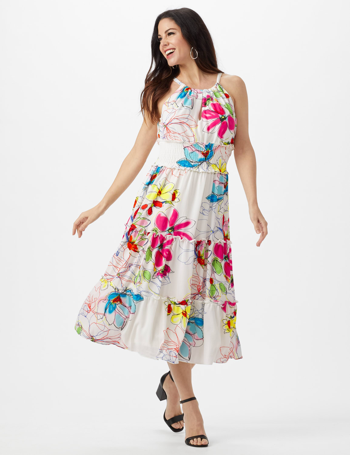 Modern Floral Halter Peasant Dress with Smocked Waist - Ivory/Magenta - Front