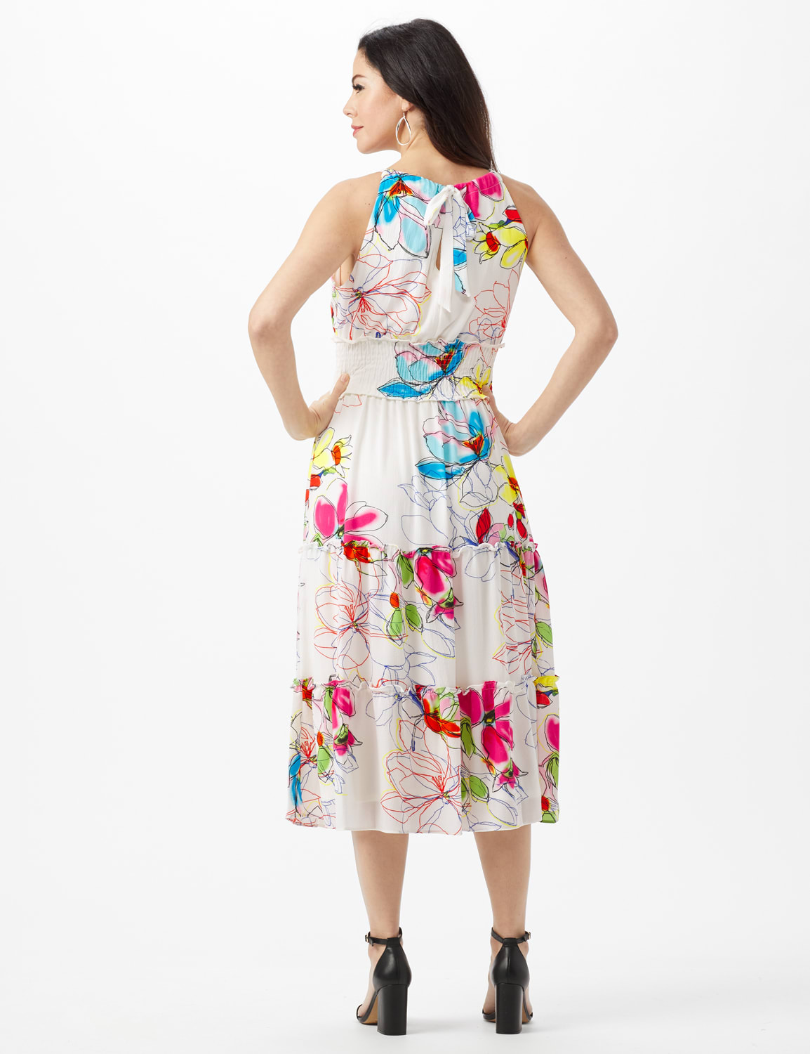 Modern Floral Halter Peasant Dress with Smocked Waist - Ivory/Magenta - Back