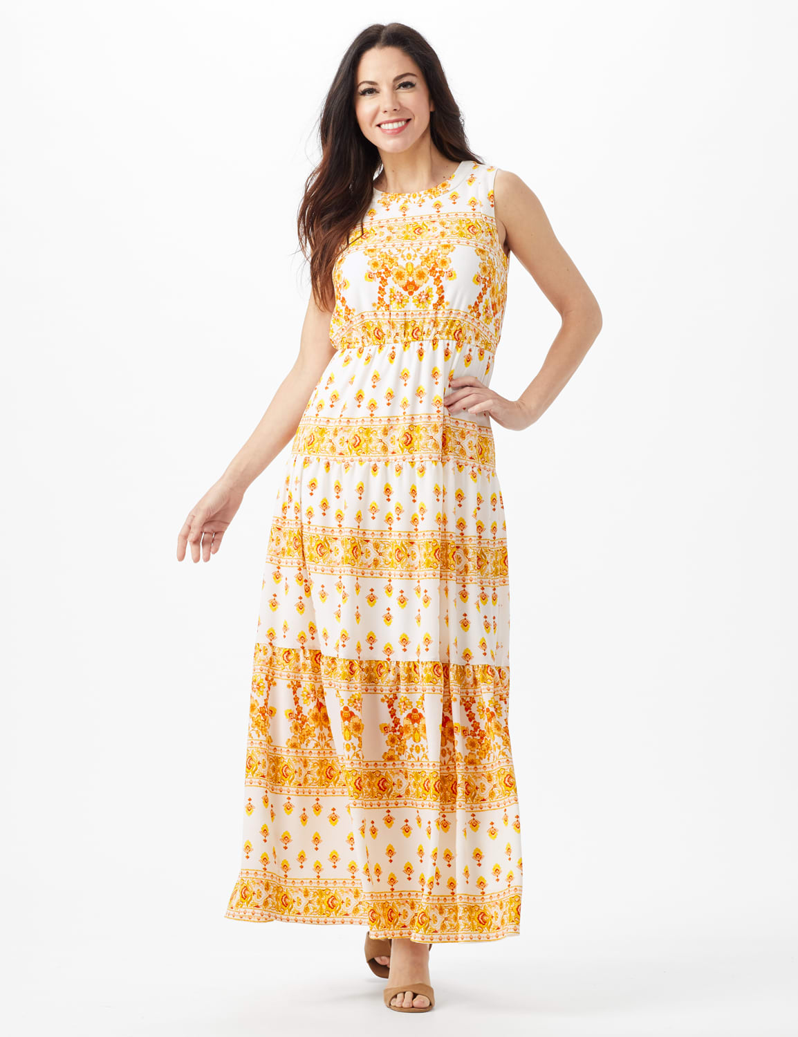 Mixed Pattern Maxi Peasant Dress - Ivory/Mustard - Front