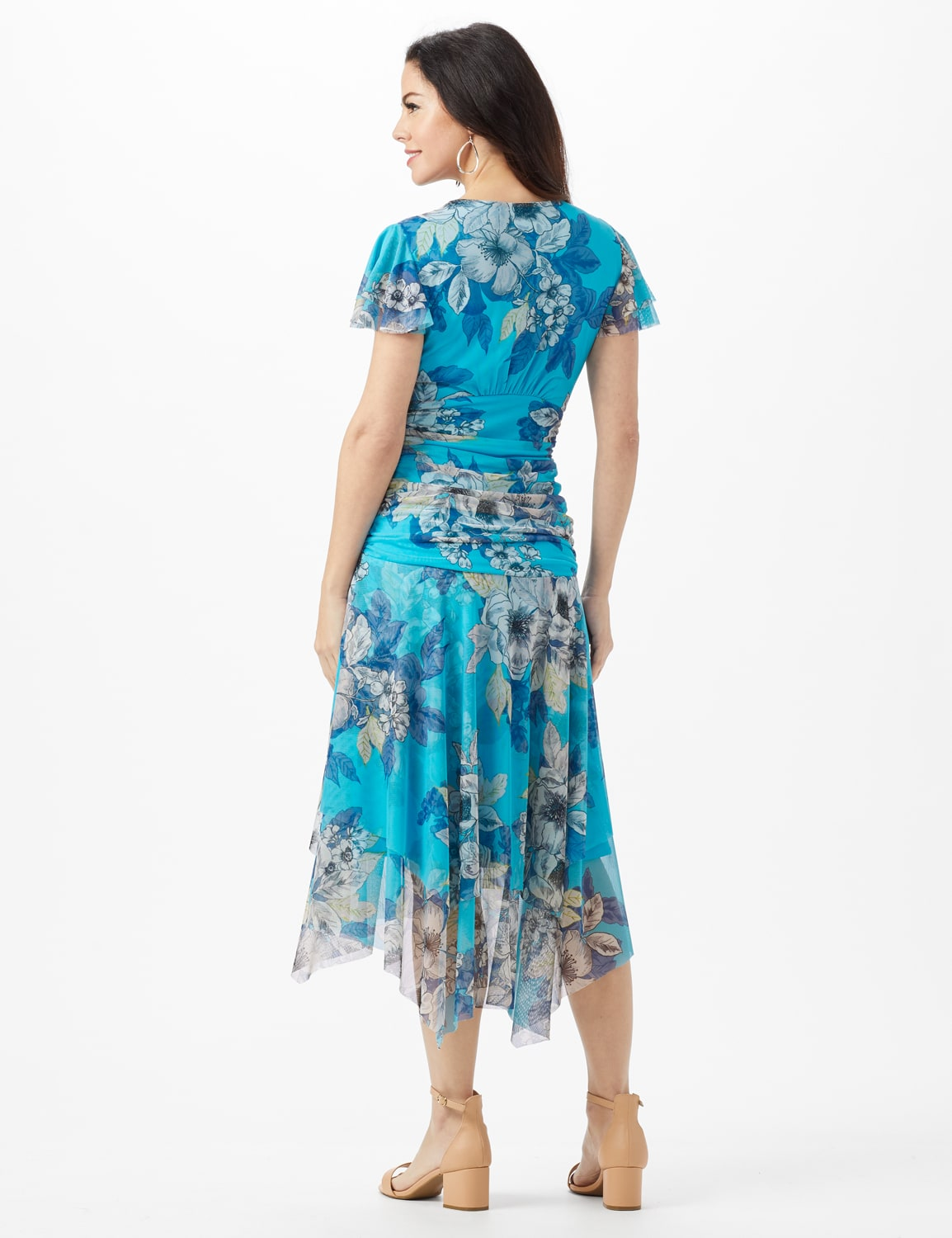Mesh Floral Drape Neck Gathered Waist with Side Tie - Turq/Sand - Back