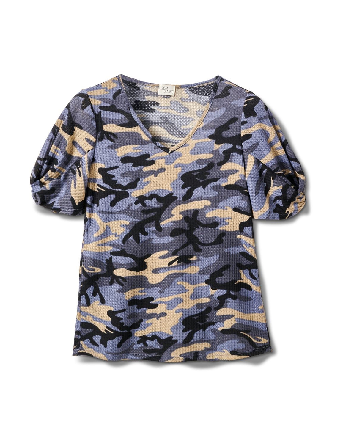 Camo Twist Sleeve Thermal Knit Top - Misses - Demim - Front