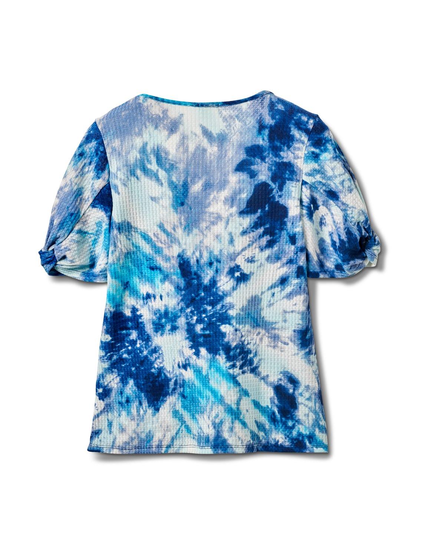 Tie Dye Twist Sleeve Thermal Knit Top - Misses - Blue - Back