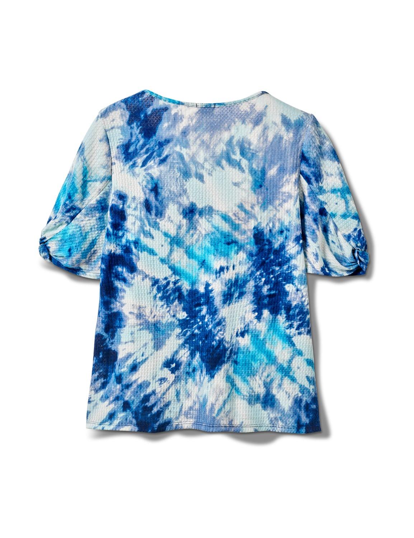 Tie Dye Twist Sleeve Thermal Knit Top - Plus - Blue - Back