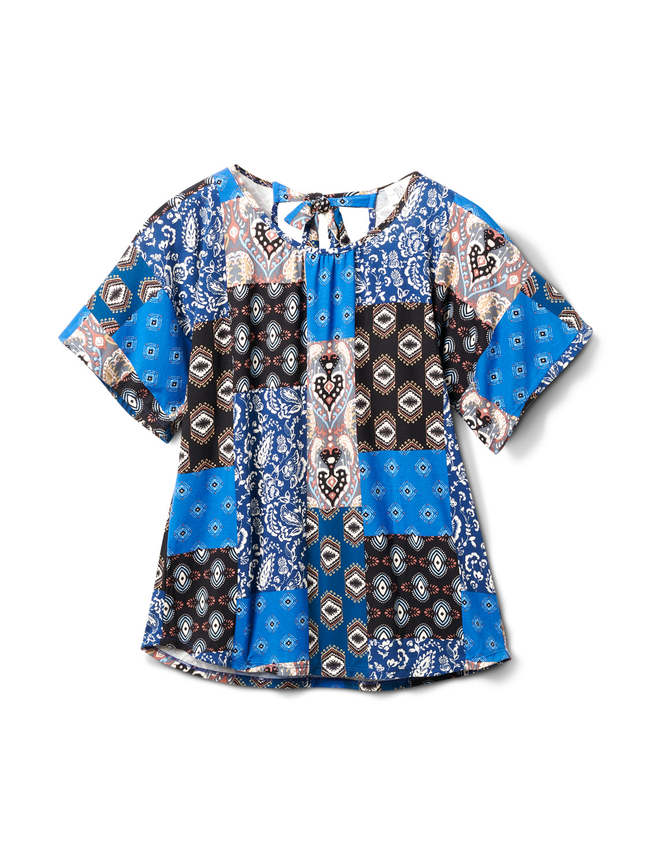 Back Self Tie Patchwork Knit Top - Misses - Blue - Front