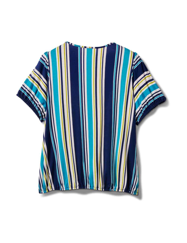 Stripe Square Neck Knit Top - Plus - Turq - Back