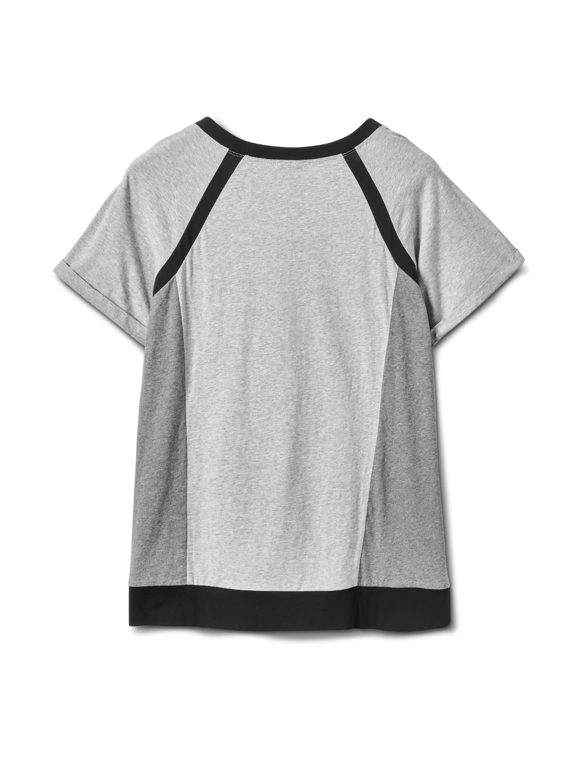 Color Block Knit Top - Plus - Grey/Black - Back