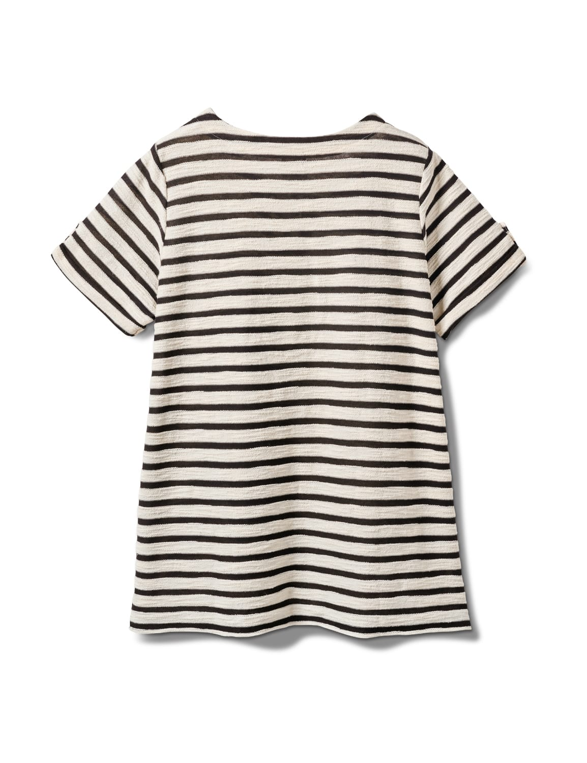 Lace Up Stripe Knit Top - Plus - Black/White - Back